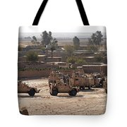 Military Vehicles Parked Outside Loy Tote Bag