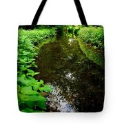 Mill Pond Stream In Green Tote Bag