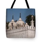 Minarets And Structure Of Pearl Mosque Inside Red Fort Tote Bag