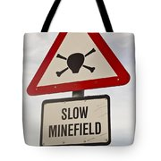 Minefield Road Sign Falkland Islands Tote Bag