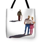 Miniature Figurines Couple Watching Elderly Man Tote Bag