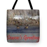 Mirrored Geese Season Greetings Tote Bag