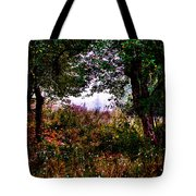 Mist Beyond The Apple Trees Tote Bag