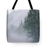 Mist Rises From An Evergreen Forest Tote Bag