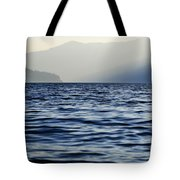 Misty Alpine Lake With Mountains Tote Bag