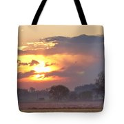 Misty Country Sunrise  Tote Bag
