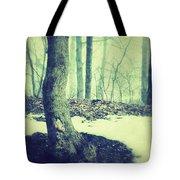 Misty Winter Woods Tote Bag
