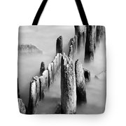 Misty Wooden Posts Tote Bag