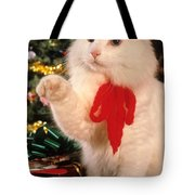 Mixed Breed Cat Reaches Out Tote Bag