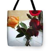 Mixed Roses In Crystal Vase Tote Bag