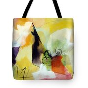 Modern Art With Yellow Black Red And Fanciful Clouds Tote Bag