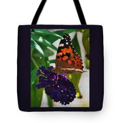 Monarch On A Black Knight Butterfly Flower Tote Bag