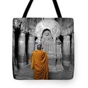 Monk At Ajanta Caves India Tote Bag