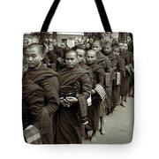 Monks In The Monastery Tote Bag