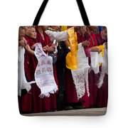 Monks Wait For The Dalai Lama Tote Bag