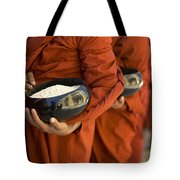 Monks With Rice Bowls, Inle Lake Tote Bag