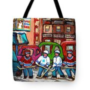 Montreal Bagels And Hockey Tote Bag