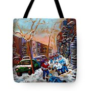 Montreal Hockey Paintings Tote Bag