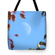 Moon Amidst Red Leaves Tote Bag