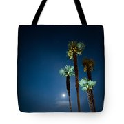 Moon Light And Palm Trees Tote Bag