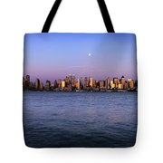 Moon Over Midtown Manhattan Skyline Tote Bag