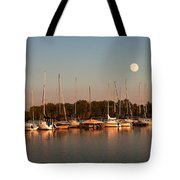 Moon Rises Over The Marina Tote Bag
