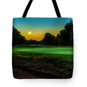 Moon Setting Over The Green Tote Bag