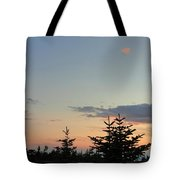Moon Watching The Sunset In Acadia Tote Bag