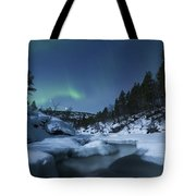 Moonlight And Aurora Over Tennevik Tote Bag