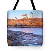 Moonrise At Nubble Light  Tote Bag