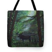 Moose In Pines Tote Bag