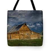 Mormon Barn Under Approaching Storm Tote Bag