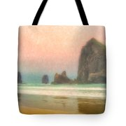 Morning Mist At Haystack Rock Tote Bag