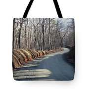 Morning Shadows On The Forest Road Tote Bag