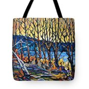 Morning Sunrise Over The Lake By Prankearts Tote Bag