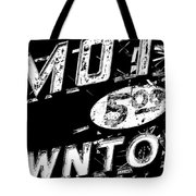 Motel Sign Black And White Tote Bag
