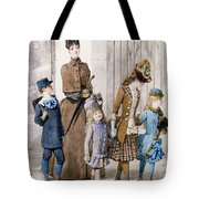Mother And Children In Walking Dress  Tote Bag