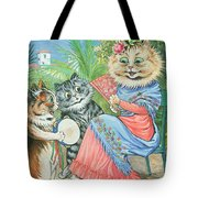 Mother Cat With Fan And Two Kittens Tote Bag
