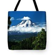 Mount Hood Framed By Trees, Oregon, Usa Tote Bag