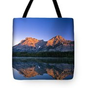 Mount Kidd Reflected In Wedge Pond Tote Bag