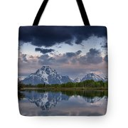 Mount Moran Under Black Cloud Tote Bag