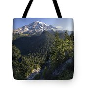 Mount Rainier Surrounded By Forest Tote Bag