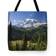 Mount Rainier With Coniferous Forest Tote Bag