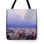 Mount Sakurajima Erupting In Front Of Tote Bag