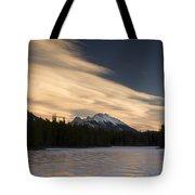 Mountain And Frozen Lake Kananaskis Tote Bag