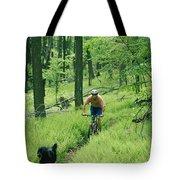 Mountain Biker And Dog On Single Track Tote Bag