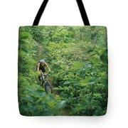 Mountain Biker On Single Track Trail Tote Bag