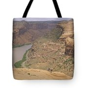 Mountain Bikers On Slickrock Trail Tote Bag