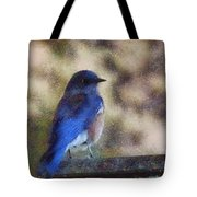 Mountain Bluebird Painterly Tote Bag