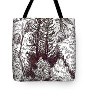 Mountain Pines And Aspen Field Sketch Tote Bag